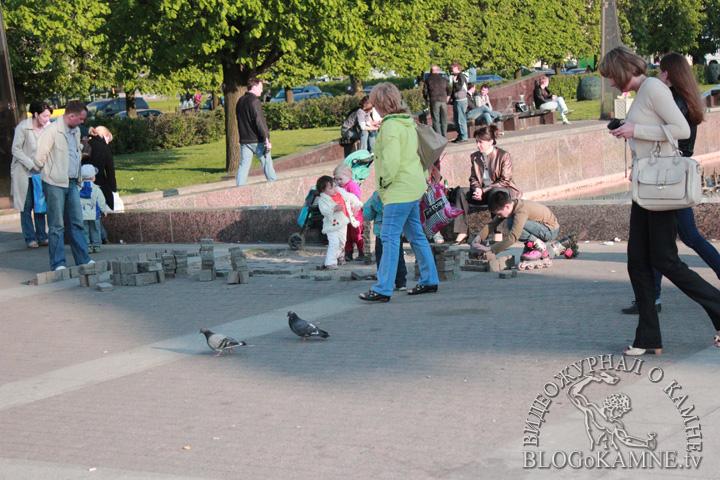 гранитная брусчатка на московской