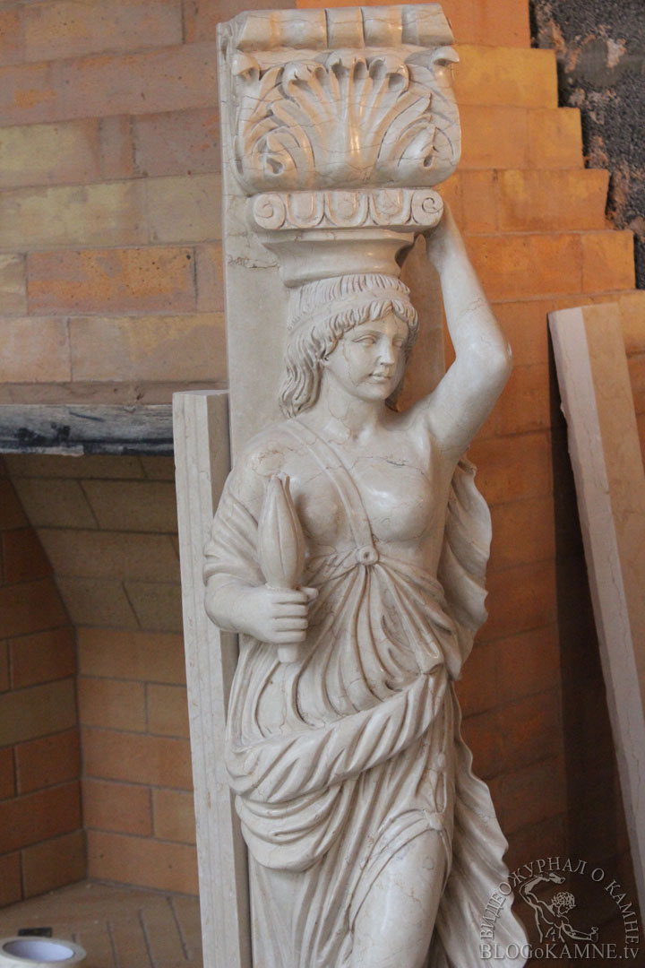 ремонт камина из мрамора