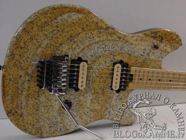 каменная гитара из желтого гранита